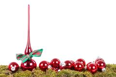 Christmas decoration with peak and balls at a green bottom Stock Images
