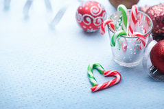 Christmas Decoration with Peppermint Candy Canes Royalty Free Stock Photos