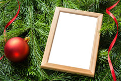 Christmas decoration. Photo frame with copy space Stock Image