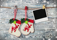 Christmas decoration and photo frame Stock Images