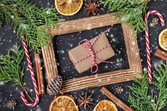 Christmas decoration with photo frame. Winter holidays concept royalty free stock image