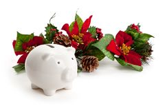 Christmas Decoration and Piggy bank stock image