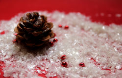 Christmas decoration. With pine and artificial snow Royalty Free Stock Images