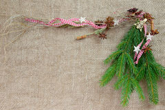 Christmas decoration with pine for a background or frame Royalty Free Stock Photo