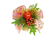 Christmas decoration - pine branches, apple and bow Stock Photo