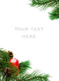 Christmas decoration with a pine branch and candle Royalty Free Stock Photo