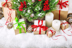 Christmas decoration with pine branches and gift boxes Royalty Free Stock Images