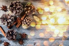 Christmas decoration pine, cone, stick of cinnamon and anise royalty free stock image