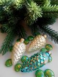 Christmas decoration pine cones and fir Stock Images