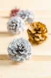 Christmas, decoration with pine cones silver. Royalty Free Stock Image