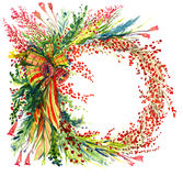 Christmas decoration with pine tree branches, berries, bells and ribbons, circle, for greeting card. Hand painted watercolor illustration, Christmas decoration Royalty Free Stock Photo