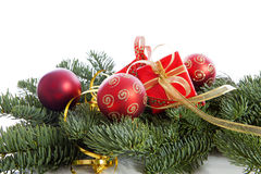 Christmas decoration on pine tree Royalty Free Stock Image