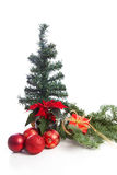 Christmas decoration on pine tree Stock Photos