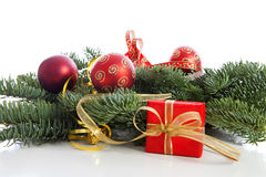 Christmas decoration on pine tree Royalty Free Stock Photo