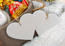 Christmas decoration, pine twig, card for text, christmas bauble Royalty Free Stock Photography