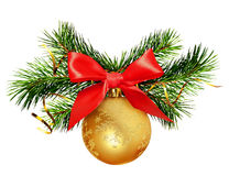 Christmas decoration with pine twigs, golden ball and red ribbon Royalty Free Stock Images
