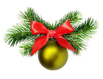 Christmas decoration with pine twigs, green ball and red ribbon Royalty Free Stock Photography
