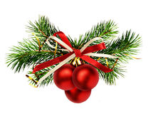 Christmas decoration with pine twigs, red balls and ribbon bow Royalty Free Stock Photography