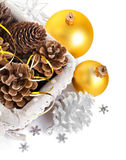 Christmas decoration with pinecone in basket Stock Image