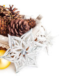 Christmas decoration with pinecone in basket Stock Photo