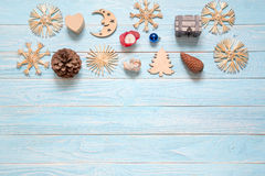 Christmas decoration: pinecone, snowflakes, box in shaped of hea Royalty Free Stock Photography