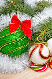 Christmas decoration and pinetree Stock Photography