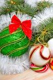Christmas decoration and pinetree. Christmas decoration, christmas baubles and pinetree Stock Photography