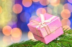 Christmas decoration, pink Christmas present Royalty Free Stock Image