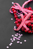 Christmas decoration and pink sequins Stock Images