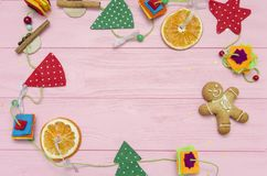 Christmas decoration on pink wood board Royalty Free Stock Photography