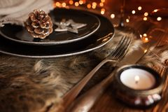 Christmas decoration for a place setting royalty free stock image