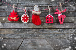 Christmas decoration placed on wooden planks Stock Photo