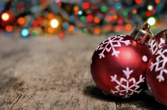 Christmas decoration on a plank Stock Images
