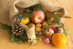 Christmas decoration on the plank table Stock Photography