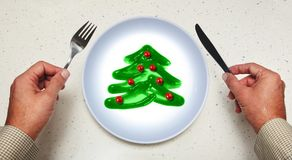 Christmas decoration on plate Stock Images