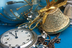 Christmas decoration and Pocket Watches Royalty Free Stock Images