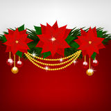 Christmas decoration with poinsettia flowers Royalty Free Stock Images