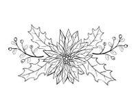 Christmas decoration with poinsettia and mistletoe. Hand drawn illustration Stock Image