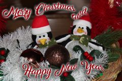 Christmas decoration for postcards or tags marry cristmas. And happy new year Stock Images