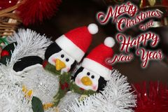 Christmas decoration for postcards or tags marry cristmas. And happy new year Royalty Free Stock Images
