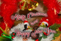 Christmas decoration for postcards or tags marry cristmas. And happy new year Royalty Free Stock Photography