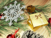 Christmas decoration present box composition on wooden backgroun Stock Image
