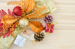 Christmas decoration with presents on wood. Stock Photo