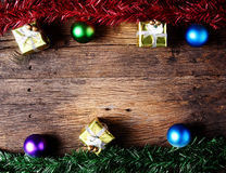 Christmas decoration with presents on wood royalty free stock images