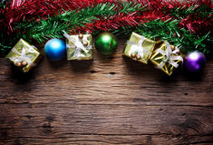Christmas decoration with presents on wood Stock Photos