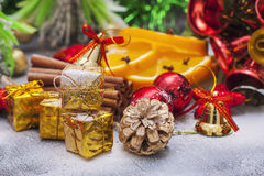 Christmas decoration with presents on wood board. Stock Image