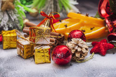 Christmas decoration with presents on wood board. Royalty Free Stock Photos