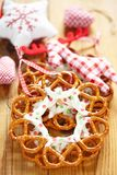 Christmas Decoration with pretzels wreath. Christmas Decoration with chocolate covered pretzels wreath stock photos
