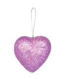 Christmas decoration, purple heart isolated on white Stock Photos