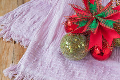 Christmas decoration on  purple  scarf background,Winter Royalty Free Stock Photos